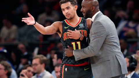<p>               Atlanta Hawks coach Lloyd Pierce talks to guard Trae Young (11) on the sideline during the first half of the team's preseason NBA basketball game against the New York Knicks in New York, Wednesday, Oct. 16, 2019. (AP Photo/Kathy Willens)             </p>