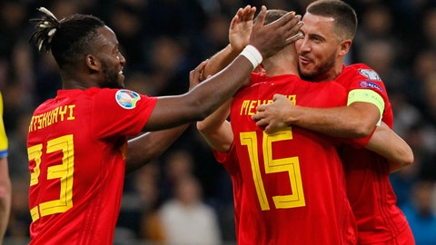 <p>               Belgium's Thomas Meunier center, celebrates with teammates after scoring his side's second goal during the Euro 2020 group I qualifying soccer match between Kazakhstan and Belgium at the Astana Arena stadium in Nur-Sultan, Kazakhstan, Sunday, Oct. 13, 2019. (AP Photo)             </p>