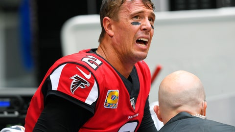 <p>               Atlanta Falcons quarterback Matt Ryan reacts as medical personel attend to him after injury against the Los Angeles Rams during the second half of an NFL football game, Sunday, Oct. 20, 2019, in Atlanta. (AP Photo/John Amis)             </p>
