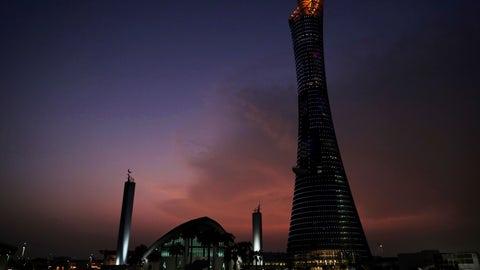 <p>               The sun sets behind the Khalifa International Stadium prior to the start of the World Athletics Championships in Doha, Qatar, Thursday, Sept. 26, 2019. (AP Photo/Nariman El-Mofty)             </p>