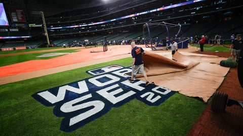 <p>               Members of the ground crew prepare the field during a practice day for baseball's World Series Monday, Oct. 21, 2019, in Houston. The Houston Astros face the Washington Nationals in Game 1 on Tuesday. (AP Photo/Eric Gay)             </p>