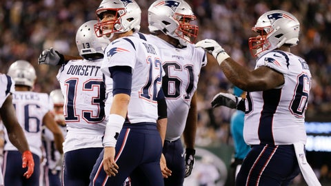 <p>               New England Patriots' Tom Brady (12) celebrates with Phillip Dorsett (13) after they connected for a touchdown during the first half of an NFL football game against the New York Jets, Monday, Oct. 21, 2019, in East Rutherford, N.J. (AP Photo/Adam Hunger)             </p>