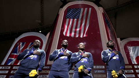 <p>               Gold medalists from left, Christian Coleman, Justin Gatlin, Michael Rodgers and Noah Lyles of the United States take part in the medal ceremony for the men's 4x100 meter relay at the World Athletics Championships in Doha, Qatar, Sunday, Oct. 6, 2019. (AP Photo/Nariman El-Mofty)             </p>