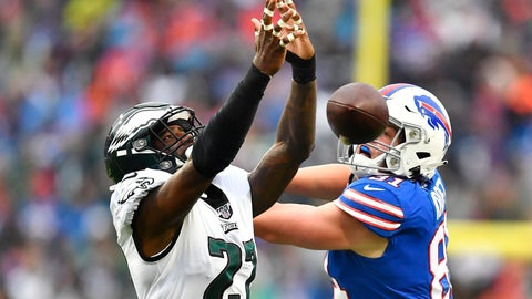 <p>               Philadelphia Eagles' Malcolm Jenkins, left, breaks up a pass intended for Buffalo Bills' Tyler Kroft, right, during the second half of an NFL football game, Sunday, Oct. 27, 2019, in Orchard Park, N.Y. (AP Photo/Adrian Kraus)             </p>
