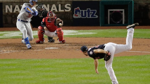 <p>               Los Angeles Dodgers' Joc Pederson, back left, strikes out swinging against Washington Nationals starting pitcher Max Scherzer, right, during the fifth inning in Game 4 of a baseball National League Division Series, Monday, Oct. 7, 2019, in Washington. Nationals catcher Kurt Suzuki, back right, and umpire Doug Eddings, back center, look on. (AP Photo/Julio Cortez)             </p>
