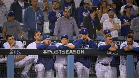 <p>               Members of the Los Angeles Dodgers react to the team's 7-3 loss to the Washington Nationals in Game 5 of a baseball National League Division Series on Wednesday, Oct. 9, 2019, in Los Angeles. (AP Photo/Mark J. Terrill)             </p>