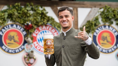 <p>               Munich's player Philippe Coutinho from Brazil poses as he attends the official 'Octoberfest' beer festival visit of the German Bundesliga club FC Bayern Munich in Munich, Germany, Sunday, Oct. 6, 2019. (Matthias Balk/dpa via AP)             </p>