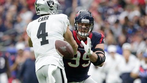 <p>               Houston Texans defensive end J.J. Watt (99) blocks a pass by Oakland Raiders quarterback Derek Carr (4) during the first half of an NFL football game Sunday, Oct. 27, 2019, in Houston. (AP Photo/Michael Wyke)             </p>