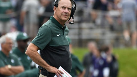 <p>               Michigan State head coach Mark Dantonio watches a play against Northwestern during the first half of an NCAA college football game, Saturday, Sept. 21, 2019, in Evanston, Ill. (AP Photo/David Banks)             </p>