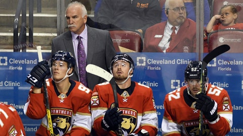 <p>               Florida Panthers head coach Joel Quenneville looks on against the Carolina Panthers during the third period of an NHL hockey game Tuesday, Oct. 8, 2019, in Sunrise, Fla. (AP Photo/Jim Rassol)             </p>