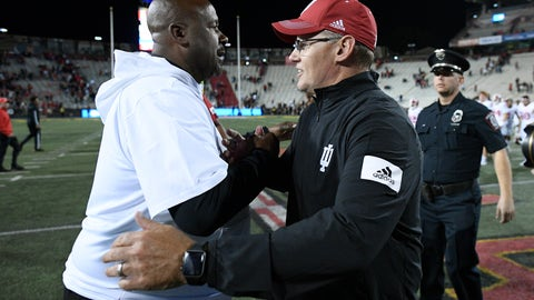 <p>               Indiana head coach Tom Allen, right, shakes hands with Maryland head coach Mike Locksley, left, after an NCAA college football game, Saturday, Oct. 19, 2019, in College Park, Md. (AP Photo/Nick Wass)             </p>