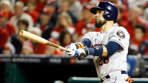 <p>               Houston Astros' Robinson Chirinos watches his two-run home run during the fourth inning of Game 4 of the baseball World Series against the Washington Nationals Saturday, Oct. 26, 2019, in Washington. (AP Photo/Patrick Semansky)             </p>