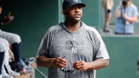 <p>               New York Yankees starting pitcher CC Sabathia walks through the dugout in the second inning of a baseball game against the Texas Rangers in Arlington, Texas, Sunday, Sept. 29, 2019. (AP Photo/Tony Gutierrez)             </p>