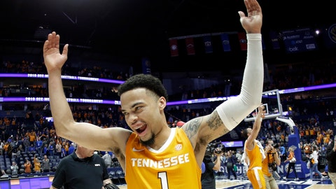 <p>               FILE - In this March 16, 2019, file photo, Tennessee guard Lamonte Turner (1) celebrates after making a 3-pointer with 26 seconds remaining to defeat Kentucky 61-59 at the Southeastern Conference Tournament in Nashville, Tenn. Turner has shown a flair for the dramatic for much of his college career while delivering some of the most memorable moments in this program's recent history. (AP Photo/Mark Humphrey, File)             </p>