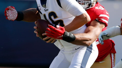 <p>               Los Angeles Rams quarterback Jared Goff (16) is sacked by San Francisco 49ers defensive end Solomon Thomas during the second half of an NFL football game Sunday, Oct. 13, 2019, in Los Angeles. (AP Photo/John Locher)             </p>