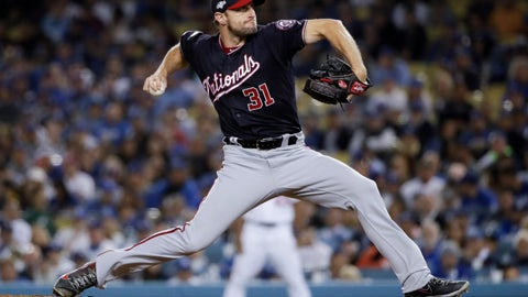 <p>               Washington Nationals pitcher Max Scherzer throws to a Los Angeles Dodgers batter during the eighth inning in Game 2 of a baseball National League Division Series on Friday, Oct. 4, 2019, in Los Angeles. (AP Photo/Marcio Jose Sanchez)             </p>
