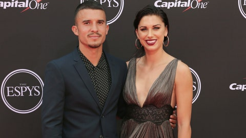 <p>               FILE - In this July 18, 2018, file photo, LA Galaxy's Servando Carrasco, left, and U.S. women's national soccer team player Alex Morgan arrive at the ESPY Awards at Microsoft Theater in Los Angeles. The couple are expecting their first child, according to an announcement Wednesday, Oct. 23, 2019, on social media. (Photo by Willy Sanjuan/Invision/AP, File)             </p>