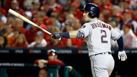 <p>               Houston Astros' Alex Bregman watches his grand slam against the Washington Nationals during the seventh inning of Game 4 of the baseball World Series Saturday, Oct. 26, 2019, in Washington. (AP Photo/Patrick Semansky)             </p>