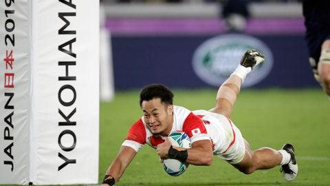 <p>               Japan's Kenki Fukuoka scores a try during the Rugby World Cup Pool A game at International Stadium against Scotland in Yokohama, Japan, Sunday, Oct. 13, 2019. (AP Photo/Jae Hong)             </p>