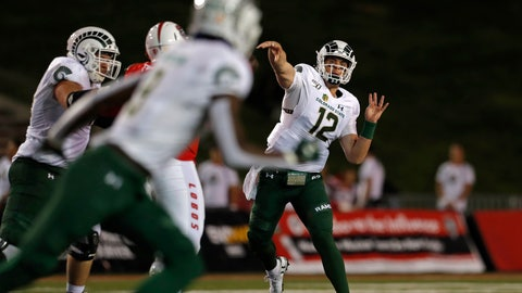<p>               Colorado State quarterback Patrick O'Brien (12) throws a pass intended for wide receiver Warren Jackson (9) during the first half of an NCAA college football game against New Mexico on Friday, Oct. 11, 2019 in Albuquerque, N.M. (AP Photo/Andres Leighton)             </p>