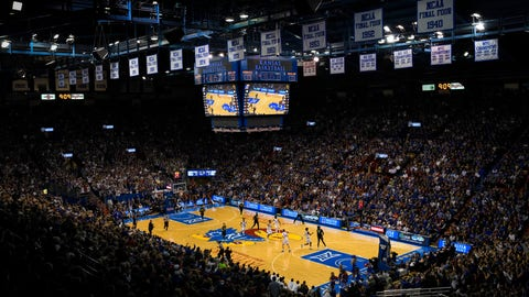 <p>               FILE - In this Wednesday, Feb. 1, 2017, file photo, the Kansas Jayhawks host the Baylor Bears during an NCAA college basketball game at Allen Fieldhouse in Lawrence, Kan. For coaches, lawyers and other leaders in college basketball, the approach of the upcoming 2019-2020 season has been nothing like business as usual. The storied Jayhawks program faces serious questions about whether it will remain eligible for the postseason come March 2020 in the wake of NCAA allegations of recruiting fraud that could sink both the program and its Hall of Fame coach, Bill Self. (AP Photo/Reed Hoffmann, File)             </p>