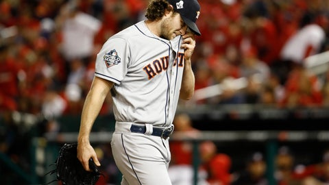 <p>               Houston Astros starting pitcher Gerrit Cole walks to the dugout after the third inning of Game 5 of the baseball World Series against the Washington Nationals Sunday, Oct. 27, 2019, in Washington. (AP Photo/Patrick Semansky)             </p>