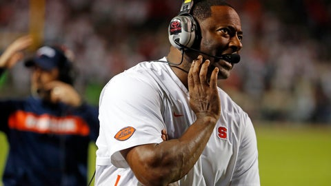 <p>               Syracuse coach Dino Babers watches a replay on the scoreboard during the second half of the team's NCAA college football game against North Carolina State in Raleigh, N.C., Thursday, Oct. 10, 2019. (AP Photo/Karl B DeBlaker)             </p>