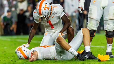 <p>               Tennessee wide receiver Marquez Callaway (1) checks on quarterback Brian Maurer (18) who was hurt on the play against Alabama during the first half of an NCAA college football game, Saturday, Oct. 19, 2019, in Tuscaloosa, Ala. (AP Photo/Vasha Hunt)             </p>