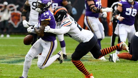 <p>               Minnesota Vikings wide receiver Stefon Diggs, left, fumbles as he is hit by Chicago Bears cornerback Prince Amukamara during the first half of an NFL football game Sunday, Sept. 29, 2019, in Chicago. The Bears recovered the fumble. (AP Photo/Matt Marton)             </p>