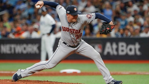 <p>               Houston Astros' Joe Smith pitches to a Tampa Bay Rays batter during the seventh inning of Game 4 of a baseball American League Division Series, Tuesday, Oct. 8, 2019, in St. Petersburg, Fla. (AP Photo/Scott Audette)             </p>