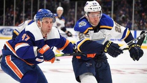 <p>               St. Louis Blues left wing Mackenzie MacEachern (28) and New York Islanders right wing Leo Komarov (47) battle for possession during the first period of an NHL hockey game, Monday, Oct. 14, 2019, in Uniondale, N.Y. (AP Photo/Kathleen Malone-Van Dyke)             </p>