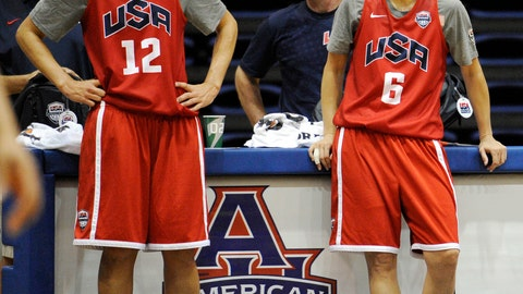 <p>               FILE - In this July 14, 2012, file photo, U.S women's Olympic basketball players Diana Taurasi (12) and Sue Bird (6) watch during practice in Washington.  The U.S. women's national basketball team college tour is set to tip off next month. USA Basketball announced Wendesday, Oct. 9, 2019,  that members of the national team will play exhibition games at Stanford, Oregon State, Texas A&M and Oregon in early November to prepare for the upcoming FIBA tournament later next month.  (AP Photo/Nick Wass, File)             </p>