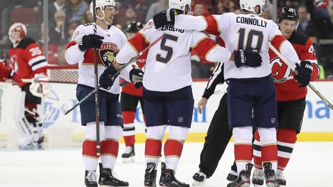 <p>               Florida Panthers right wing Brett Connolly (10) celebrates after scoring a goal against the New Jersey Devils during the second period of an NHL hockey game, Monday, Oct. 14, 2019, in Newark, N.J. (AP Photo/Mary Altaffer)             </p>
