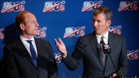 <p>               Dr. Allen Sills, right, the NFL's chief medical officer, speaks as Jeff Miller, the league's executive vice president of health and safety initiatives, looks on during a news conference at the NFL Fall League Meeting, Tuesday, Oct. 15, 2019 in Fort Lauderdale, Fla. The NFL says the number of concussions in exhibition games this year rose to 49 from 34 in 2018, an increase of 44 percent and a setback in efforts to reduce brain trauma. (AP Photo/Wilfredo Lee)             </p>