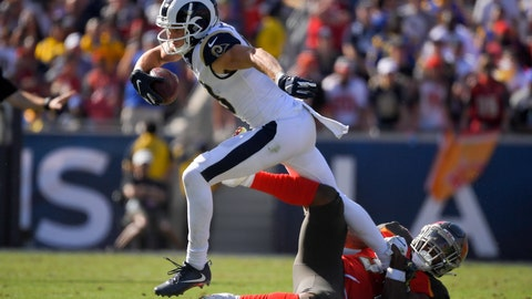 <p>               Los Angeles Rams wide receiver Cooper Kupp is tackled by Tampa Bay Buccaneers safety Mike Edwards during the second of an NFL football game Sunday, Sept. 29, 2019, in Los Angeles. (AP Photo/Mark J. Terrill)             </p>