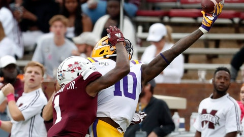 <p>               Mississippi State cornerback Martin Emerson (1) breaks up a pass intended for LSU tight end Stephen Sullivan (10) during the second half of an NCAA college football game in Starkville, Miss., Saturday, Oct. 19, 2019. LSU won 36-13. (AP Photo/Rogelio V. Solis)             </p>