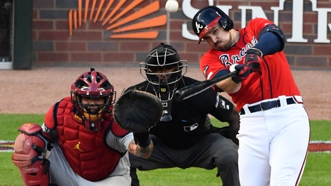 <p>               Atlanta Braves left fielder Adam Duvall (23) watches his two-run homer against the St. Louis Cardinals in the seventh inning during Game 2 of a best-of-five National League Division Series, Friday, Oct. 4, 2019, in Atlanta. (AP Photo/Scott Cunningham)             </p>
