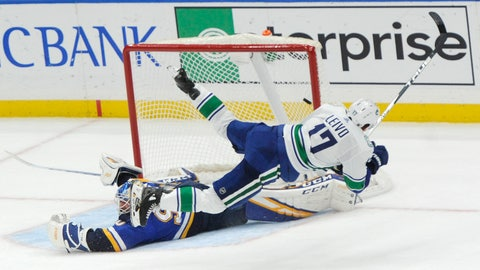 <p>               Vancouver Canucks' Josh Leivo (17) trips over St. Louis Blues' Jordan Binnington (50) as he scores the winning goal during a shootout in an NHL hockey game, Thursday, Oct. 17, 2019, in St. Louis. (AP Photo/Bill Boyce)             </p>