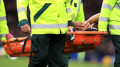 <p>               Everton's Theo Walcott is carried off after an injury during their English Premier League soccer match against Manchester City at Goodison Park in Liverpool, England, Saturday Sept. 28, 2019. (Peter Byrne/PA via AP)             </p>