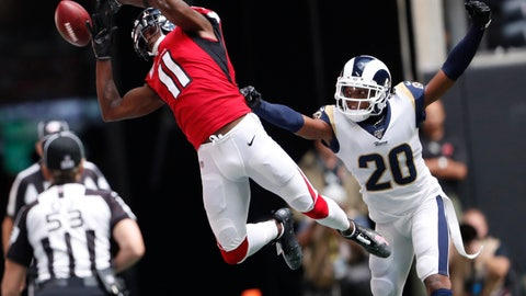 <p>               Atlanta Falcons wide receiver Julio Jones (11) misses the catch against Los Angeles Rams cornerback Jalen Ramsey (20) during the first half of an NFL football game, Sunday, Oct. 20, 2019, in Atlanta. (AP Photo/John Bazemore)             </p>