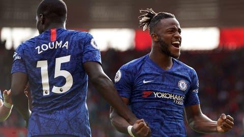 <p>               Chelsea's Michy Batshuayi, right, celebrates scoring against Southampton's with teammate Willian during the English Premier League soccer match at St Mary's Stadium, Southampton, England, Sunday Oct. 6, 2019. (John Walton/PA via AP)             </p>