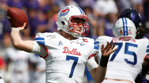 <p>               SMU quarterback Shane Buechele (7) throws against TCU during the first half of an NCAA college football game Saturday, Sept. 21, 2019, in Fort Worth, Texas. (AP Photo/Ron Jenkins)             </p>
