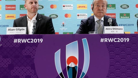 <p>               Alan Gilpin, left, tournament director for the 2019 Rugby World Cup and Japan Rugby 2019 CEO Akira Shimazu, right, attend during a press briefing on update relating to the anticipated impact of Typhoon Hagibis on the final round Rugby World Cup 2019 pool matches this weekend Thursday, Oct. 10, 2019, in Tokyo. (AP Photo/Eugene Hoshiko)             </p>