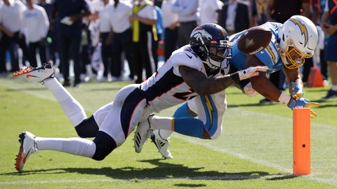 <p>               Denver Broncos defensive back Kareem Jackson, left, forces a fumble by Los Angeles Chargers running back Austin Ekeler at the goal line during the first half of an NFL football game Sunday, Oct. 6, 2019, in Carson, Calif. (AP Photo/Marcio Jose Sanchez)             </p>