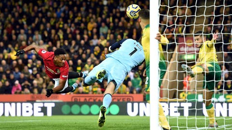 <p>               Norwich City goalkeeper Tim Krul saves from Manchester United's Anthony Martial during the Premier League match between Norwich City and Manchester United, at Carrow Road, Norwich, Britain, Sunday, Oct. 27, 2019.  (Joe Giddens/PA via AP)             </p>