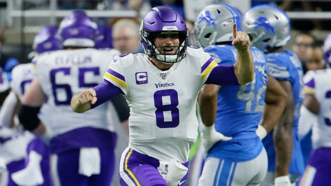 <p>               Minnesota Vikings quarterback Kirk Cousins (8) reacts after a touchdown by running back Dalvin Cook during the second half of an NFL football game against the Detroit Lions, Sunday, Oct. 20, 2019, in Detroit. (AP Photo/Duane Burleson)             </p>