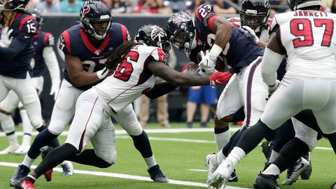 <p>               Houston Texans running back Carlos Hyde (23) rushes for a touchdown against the Atlanta Falcons during the second half of an NFL football game Sunday, Oct. 6, 2019, in Houston. (AP Photo/Michael Wyke)             </p>