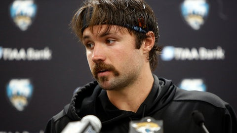 <p>               Jacksonville Jaguars quarterback Gardner Minshew speaks with the media following an NFL football game against the Carolina Panthers in Charlotte, N.C., Sunday, Oct. 6, 2019. (AP Photo/Brian Blanco)             </p>