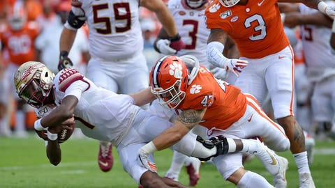 <p>               Florida State quarterback James Blackman is tackled by Clemson's James Skalski during the first half of an NCAA college football game Saturday, Oct. 12, 2019, in Clemson, S.C. (AP Photo/Richard Shiro)             </p>