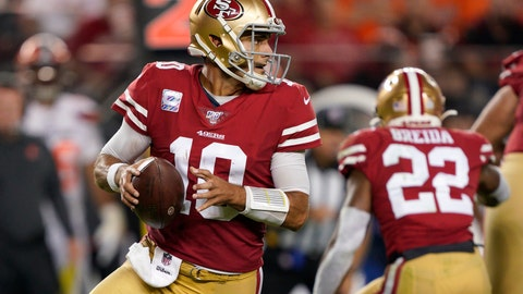 <p>               San Francisco 49ers quarterback Jimmy Garoppolo (10) passes against the Cleveland Browns during the second half of an NFL football game in Santa Clara, Calif., Monday, Oct. 7, 2019. (AP Photo/Tony Avelar)             </p>